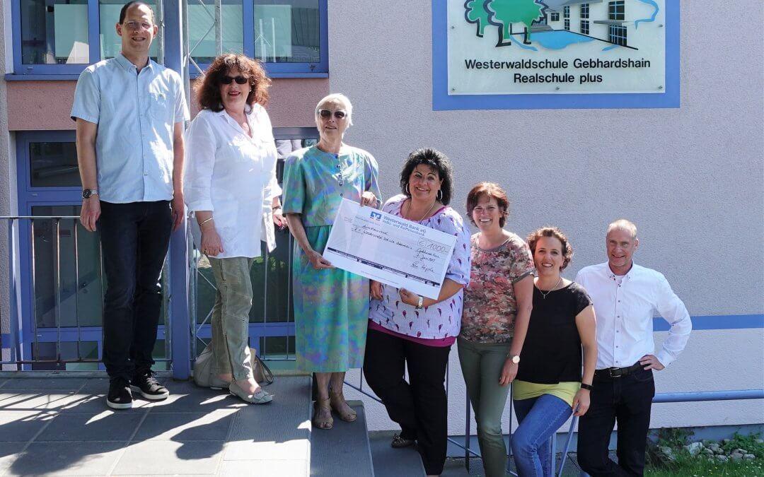 Spende an den Förderverein der Westerwaldschule Realschule Plus in Gebhardshain, Juni 2019